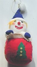 "VINTAGE 1991 HAND MADE, ""CLOWN HEAD, ON RED COTTON DECORATED BLOCK"" ORNAMENT"
