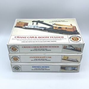 BACHMANN HO SCALE Lot CRANE & BOOM, Hoodlight Car, Diesel Horn - New Sealed