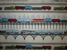 TRAINS RAILROAD MODEL TRAIN BORDER CREAM COTTON FABRIC 12 1/2 Inch Scrap Cut
