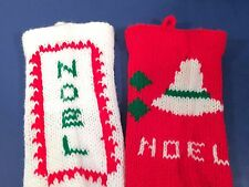 "Set of 2 Vintage Handmade Hand Knit 17"" Christmas Stockings Pair Noel Red White"