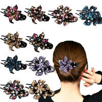 Women's Crystal Hair Clips Slide Flower Hairpin Pin Comb Hair Accessories Decor