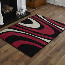 NEW X LARGE LARGE MEDIUM SMALL BLACK RED CREAM CURLY PATTERN CHEAP SOFT RUG MAT