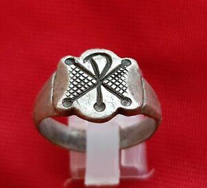 > CHI RHO <  ANCIENT ROMAN SILVER  RING . EARLY CHRISTIAN SYMBOL