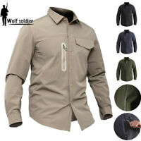 Mens Army Tactical Shirt Combat Quick Drying Long Sleeve Military Casual Hiking