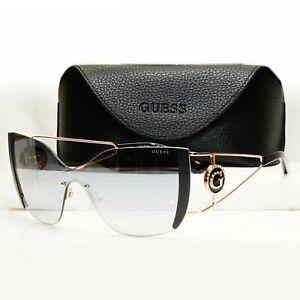 Authentic GUESS Womens Sunglasses Gold Black Oversized Shield Visor GU 7719 02C