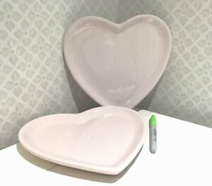 BN 2x pink Love Heart Shaped Ceramic Plates / Tableware Mother's Day Gift NEW