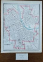 "Vintage 1900 NASHVILLE TENNESSEE Map 11""x14"" ~ Antique Original GRAND OLD OPRY"