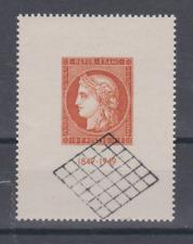 FRANCE 1949 MNH N** 841 CENTENAIRE DU TIMBRE COTE 65€ 10F VERMILLON OB GRILLE
