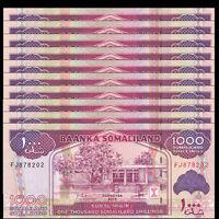 Lot 10 PCS, Somaliland 1000 Shillings, 2014/2016, P-20 NEW, New Sign, UNC
