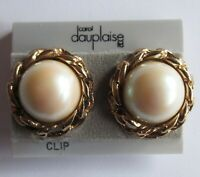Vintage Carol Dauplaise Gold Tone Faux Pearl Clip-on Earrings