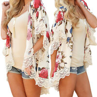 Vintage Women Floral Loose Shawl Kimono Cardigan Chiffon Coat Jacket Blouse Y9