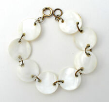 """Art Deco MOP Panel Bracelet Hand Carved Mother of Pearl Antique Jewelry 7.25"""""""
