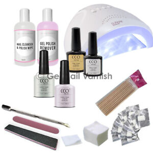 CCO GEL NAIL POLISH STARTER SET KIT WITH LED UV LAMP - DELUXE FRENCH MANICURE