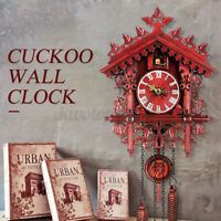 Vintage Handcraft Forest Clock Wood Cuckoo Clock Swing Wall Home Decor Gift