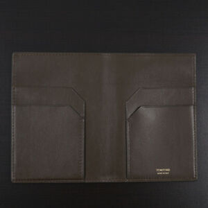 Tom Ford Dark Olive Leather Passport Case with Card Holder New