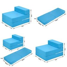 TURQUOISE Cotton Twill Z Bed Single Size Fold Out Chairbed Foam Folding Sofa