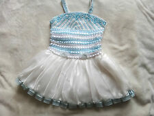 NWOT Girls White blue beaded embroidered party formal flower girl dress