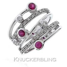 Wedding Ruby White Gold 18 Carat Fine Rings