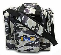 KAZE SPORTS Deluxe 1 Ball Bowling Tote Bag Two Side Pocket One Single White Camo