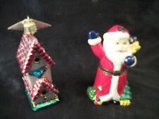 Santa figurine box ornament & birdhouse tree trimming Christmas decorations art