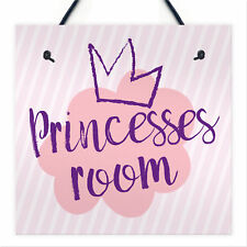 Princesses Room Plaque Door Nursery Bedroom Sign Gifts Baby Girls Playroom Decor