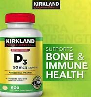 Kirkland Signature Extra Strength D3 50mcg, 600 Softgels Immune Health BULK BUY!