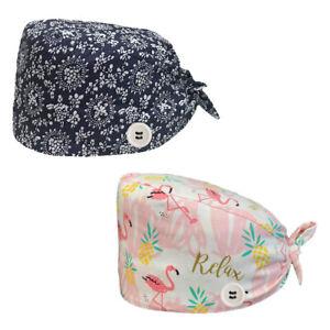 2PK Nurse Hat Cotton Surgical Scrub Bouffant Doctor Kitchen Sweatband Adjustable