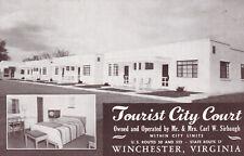 Tourist City Court Motel Winchester Virginia Postcard 1940's