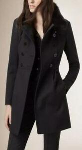 Black Burberry Wool Cashmere Coat  Fox Fur Size Uk 14 ££££