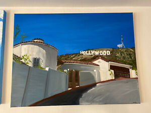 """Life Under The Hollywood Sign Oil On Canvas 30 X 40"""" Large Painting Contemporary"""