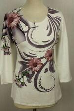 Pullover/Oberteil weiß mit  Blumenmuster Viskose von Ovanti  Gr. 50