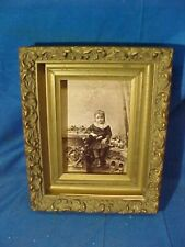 """19thc VICTORIAN Era CABINET CARD Photo GOLD Gesso PICTURE FRAME  8"""" x 6"""""""