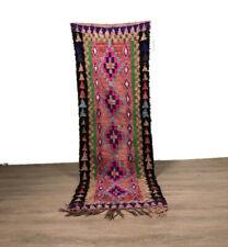 Vintage Rug Wool Boucherouite Area Hallway Carpet Tribal Handwoven  7'X2'Feet