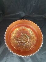 Vintage Marigold Carnival Glass Fruit Bowl in a Windmill Pattern