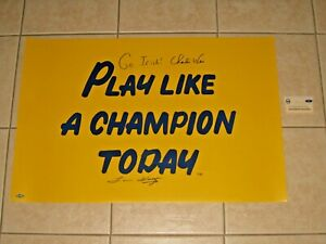 Coach Lou Holtz Charlie Weis signed Notre Dame Play Like A Champion Today photo