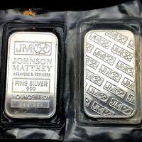JOHNSON MATTHEY Fine Silver .999 Sealed 1 Ounce Troy Bar
