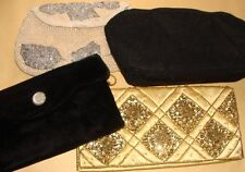 4 Vintage Purses Corde, White Beaded, Sequin, Velvet Evening Bag New Years Eve