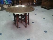 "Large Egyptian Turkish Moroccan Egyptian 20"" Brass Tray Table Wooden Stand"