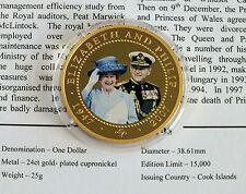 COOK ISLANDS 2007 DIAMOND WEDDING PHOTO PORTRAIT GOLD PLATED PROOF $1 - COA