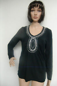 Designer  T Shirt  Shirt  Tunika  schwarz  Judith Williams  Perlen Gr. 36   Neu!