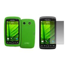 for BlackBerry Torch 9850 Case Silicone Skin Green+LCD Screen Protector Guard