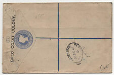 British Colonies Cover Gold Coast H&G #3 Registered Letter July 20, 1892