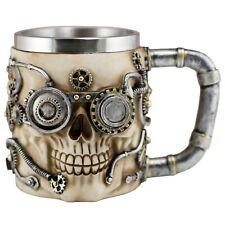 Steampunk Skull Mug Beer Stein 16 Oz. Stainless Steel Interior New In Box!