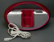 iLive Pink Ipod Dock w/ AM/FM Radio and Aux Input & Output AC or Battery Power