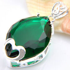 Love Heart Horse Eye Stone Green Emerald Gemstone Silver Necklace Pendants