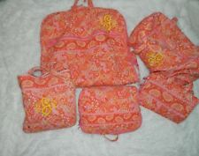 Retired Vera Bradley 5 Piece Luggage Orange PInk Sherbet Garment Duffel
