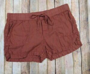 Caslon Linen Shorts Large Rust Pull On Elastic Waist Patch Pockets NWOT