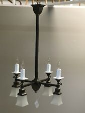 Antique square four arm gas electric arts and crafts ceiling light fixture