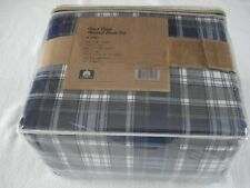 "New Oakwook 4-piece Patrick Plaid Xdeep 16"" King Flannel Sheet set Navy/Gray/Wht"