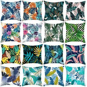 Tropical Plant Green Leaves Cushion Cover Throw Pillow Case Home Sofa Decor 45cm